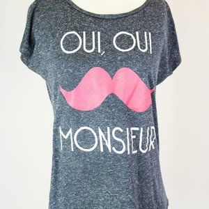 Oui, Oui Monsieur Grey Graphic Tee